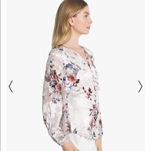 b9781488e9564 White House Black Market Tops - WHBM Burnout Floral Silk Blouse - size 6   Medium